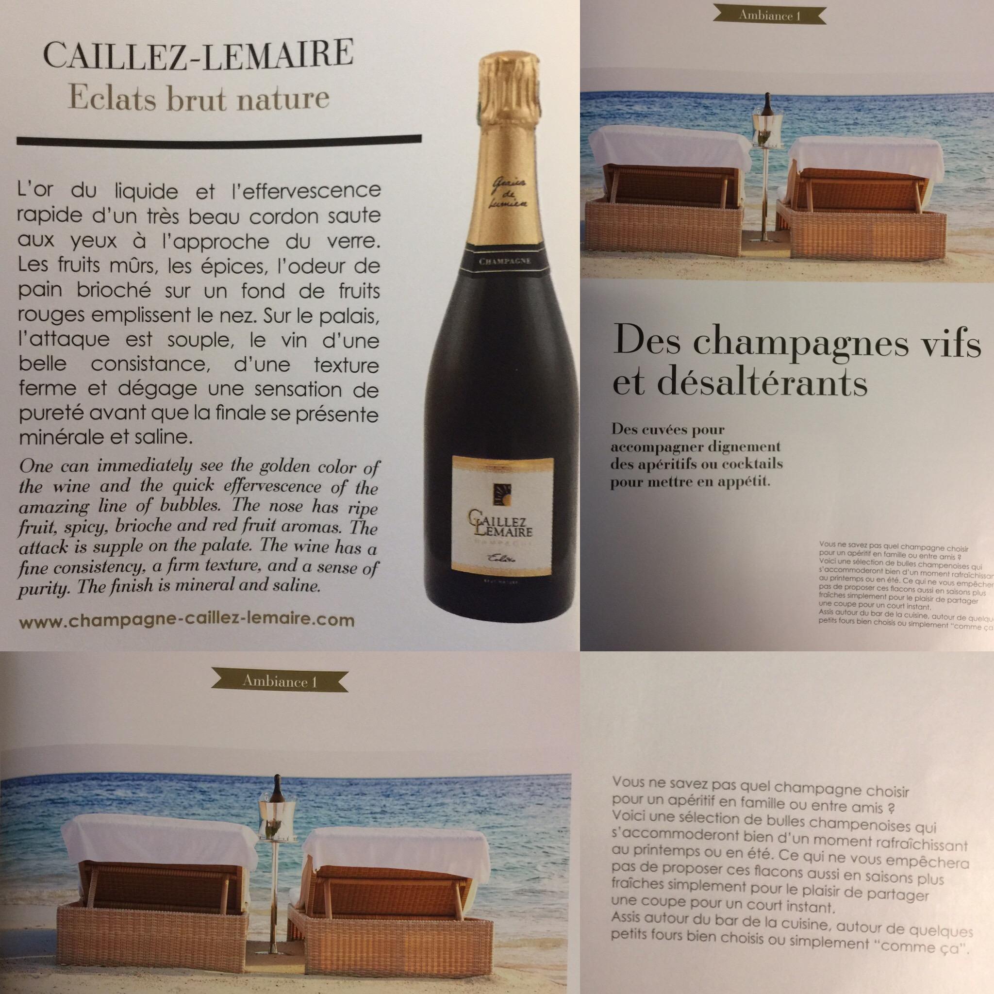 Champagne vif et désaltérant, Eclats brut nature
