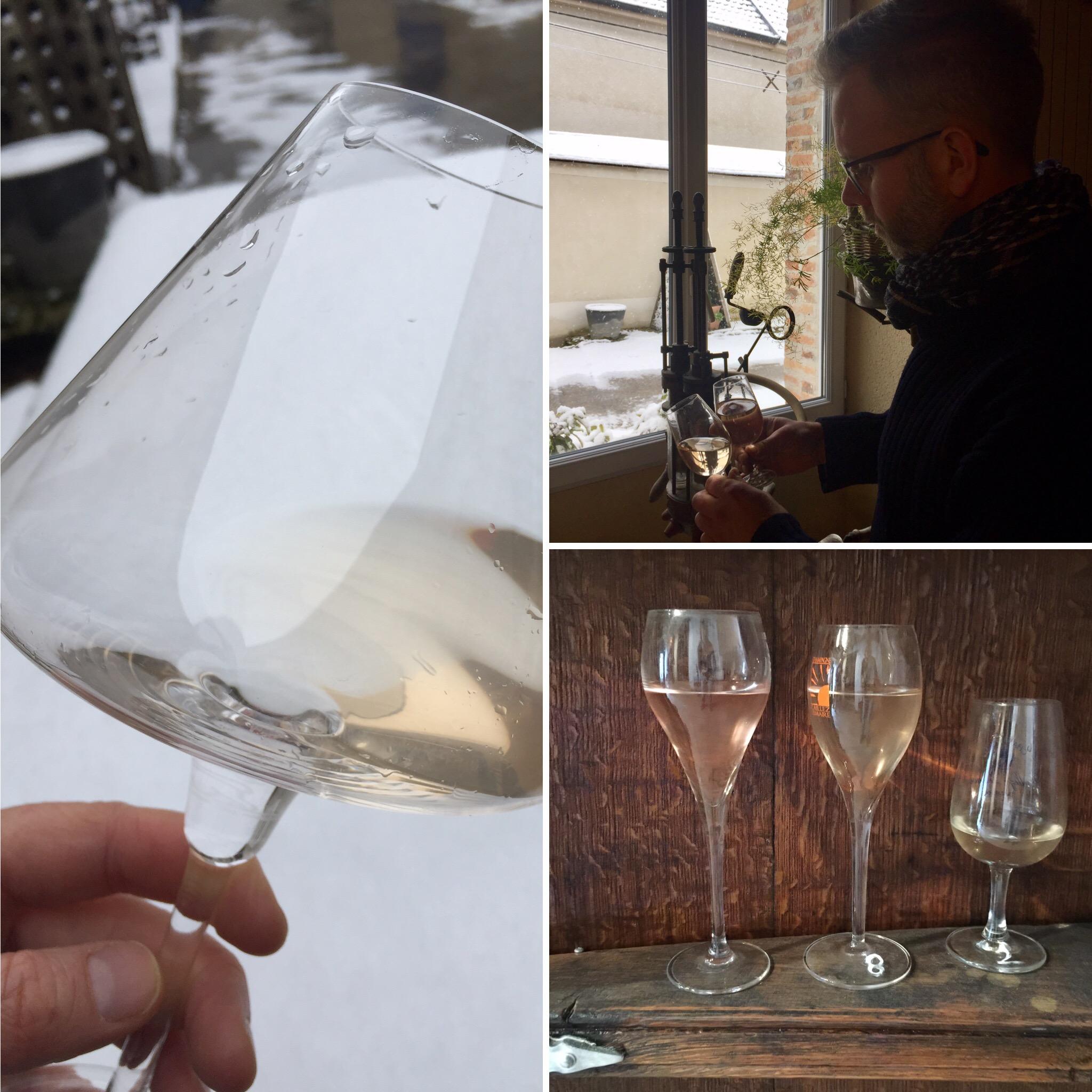 Vin clair 2017 pour assemblage Laurent Vanpoperinghe neige février 2018
